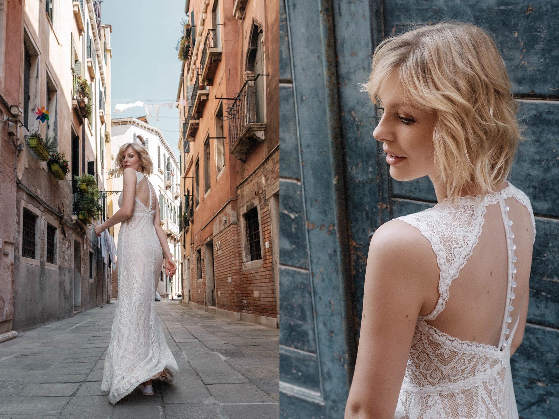 Sommer Brautkleid in den Gassen von Venedig