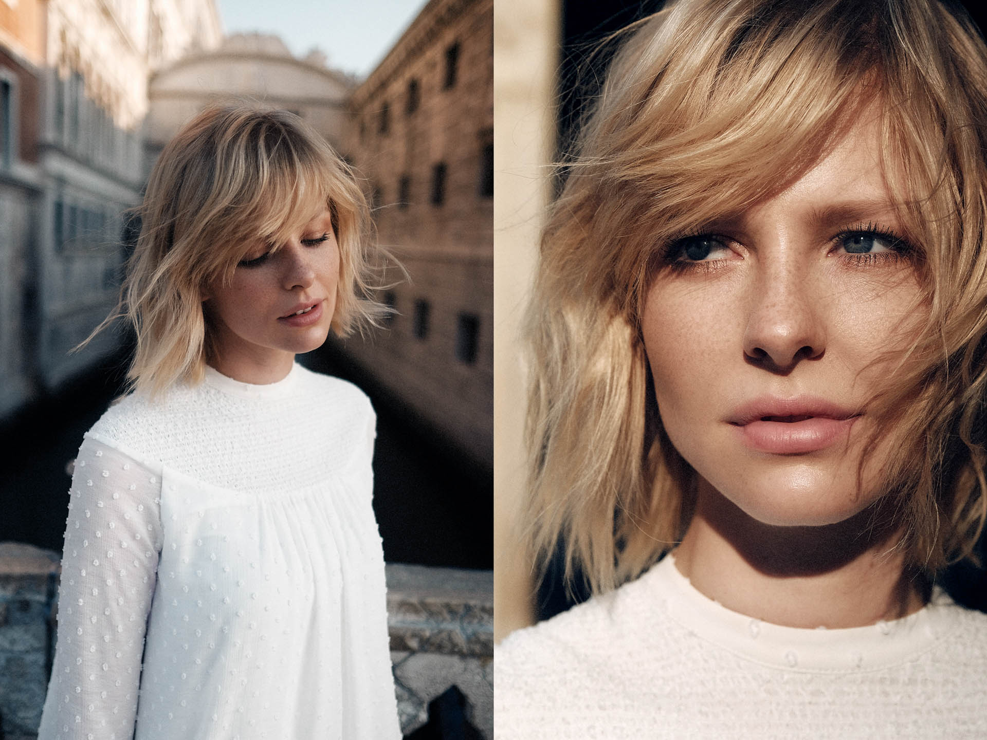 70er Jahre Brautkleid an blonder Schönheit in Venedig