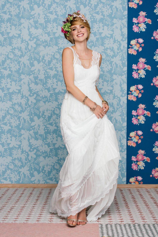 Boho Brautkleid mit Trägern