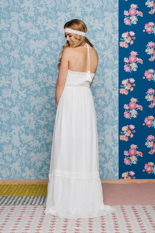 Neckholder Brautkleid mit Häkeloberteil zum Binden