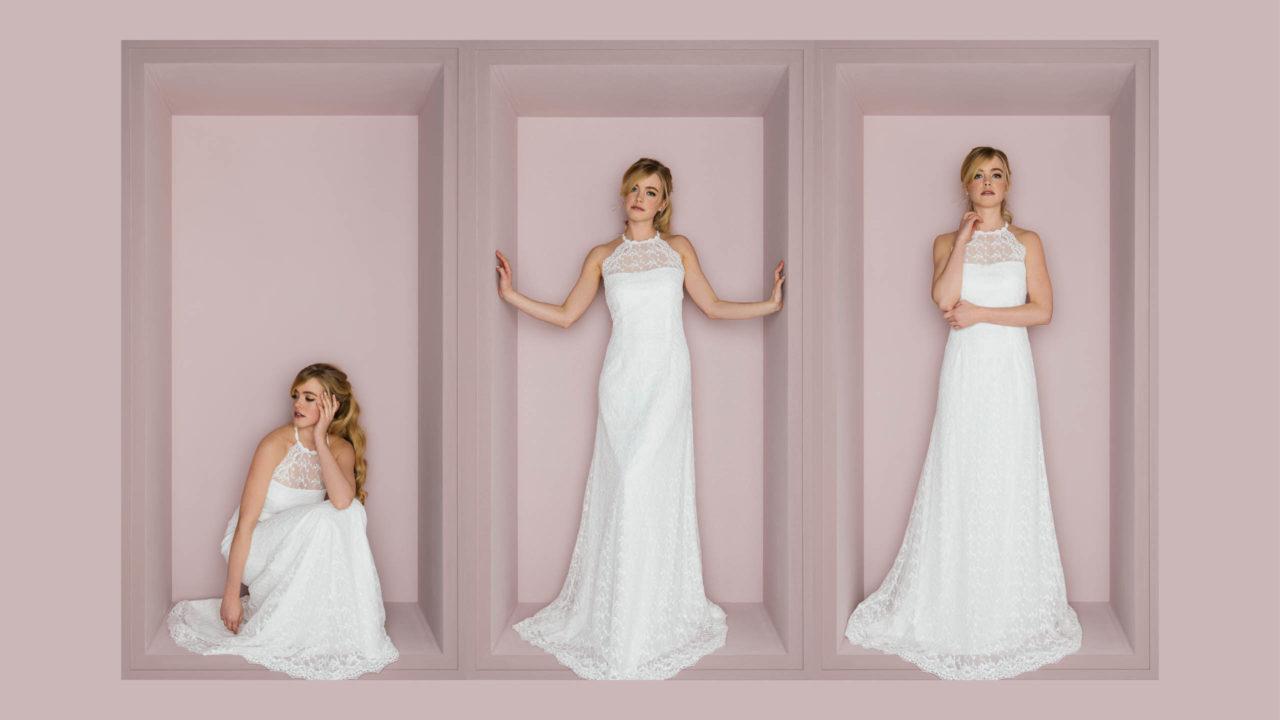 Figurbetontes Brautkleid mit amerikanischem Armausschnitt