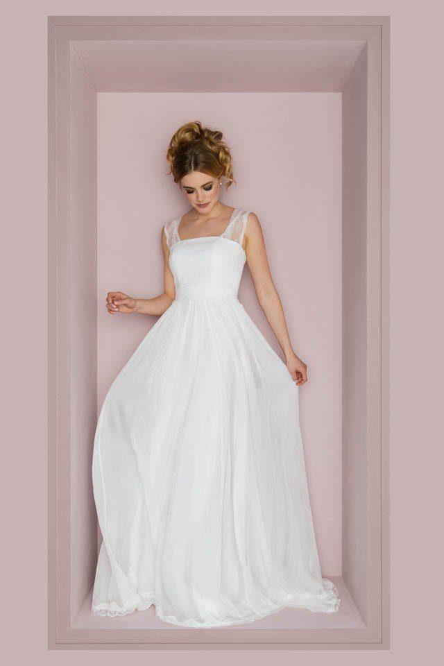 Brautkleid mit Trägern in transparenter Spitze – Anu