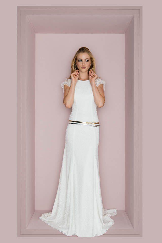 Brautkleid mit offenem Rücken & raffinierter Schnürung – Lia Pearl