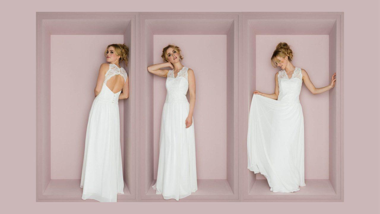 Vintage Hochzeitskleid mit Spitzenträgern Priska