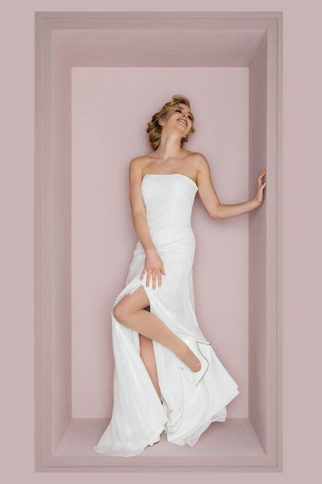 Sexy Brautkleid mit Beinschlitz – verführerisches 20er Jahre Flair – Penelope