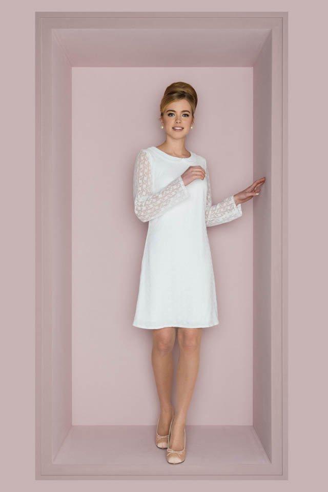 Brautkleid 60er Jahre Stil – Langarm Minikleid – Ornella