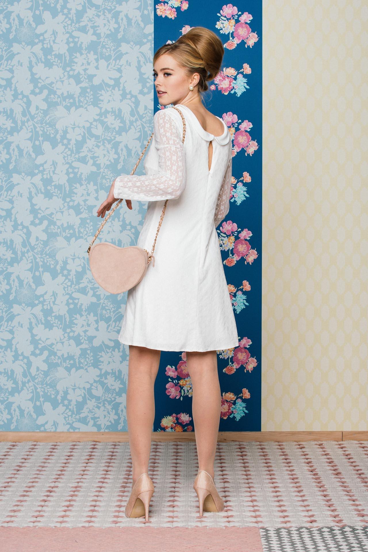 brautkleid im 60er jahre stil langarm minikleid mit bubikragen k ss die braut. Black Bedroom Furniture Sets. Home Design Ideas