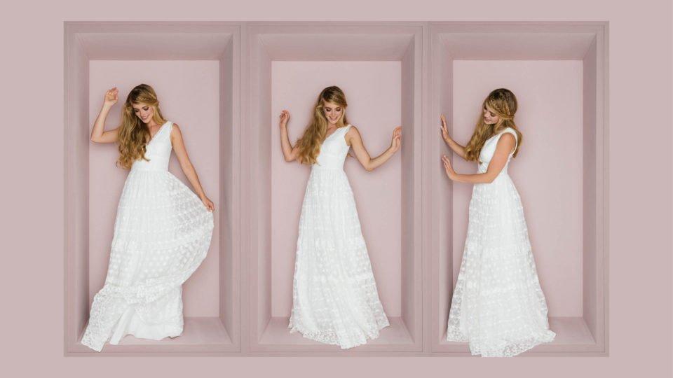 Brautkleid Hippie Style mit V-Ausschnitt und Flügelarm