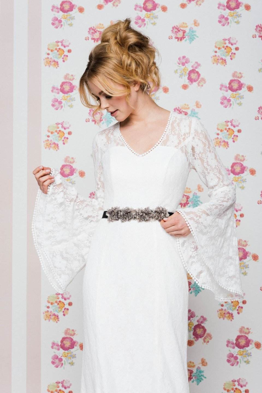 Brautkleid Langarm mit tollem Trompetenärmel