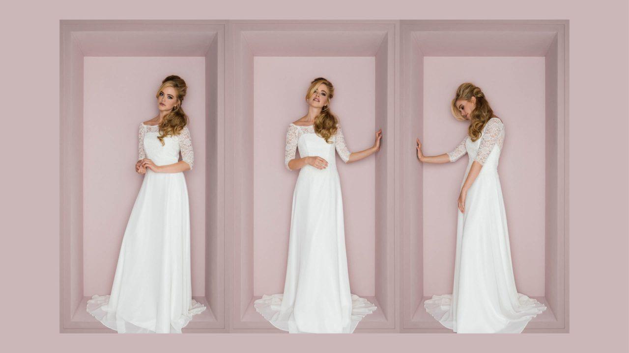 Brautkleid in Spitze mit Ärmel