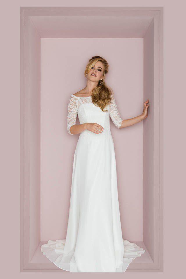Brautkleid in Spitze mit Ärmel – Vintage Bolero Look – Pola