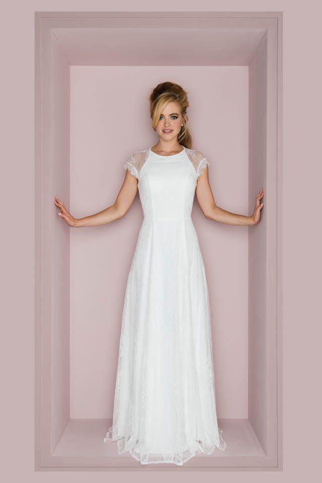 Brautkleid Vintage Stil mit transparentem Rücken – Chia