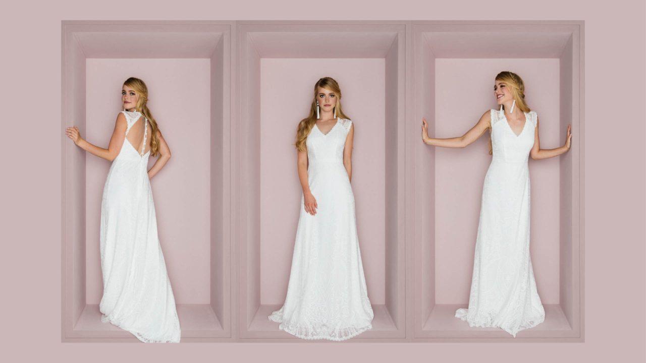 Brautkleid rückenfrei mit V-Ausschnitt