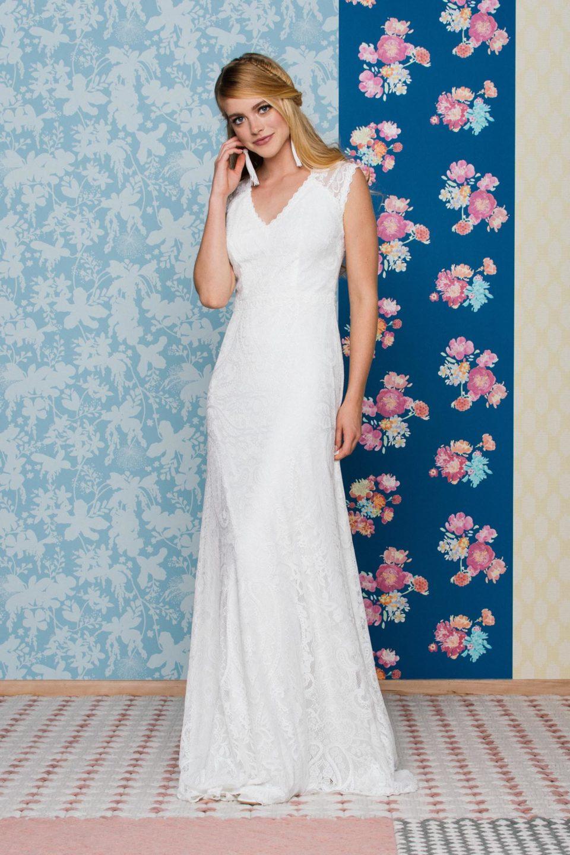 Rückenfreies Brautkleid mit V-Ausschnitt