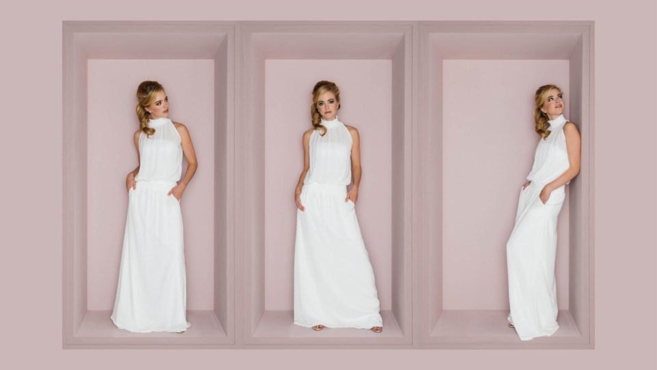 New Boho Brautkleid mit Stehkragen