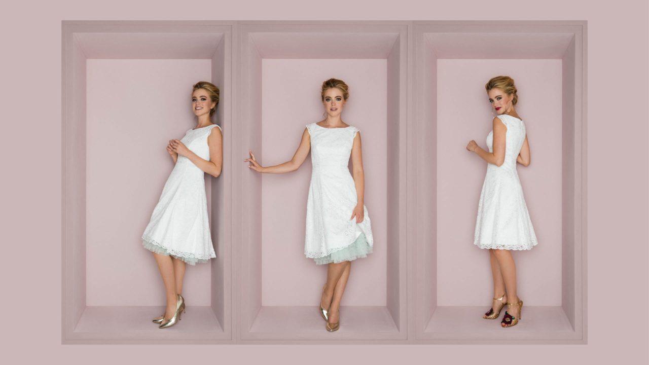 Petticoat Brautkleid mit Flügelarm