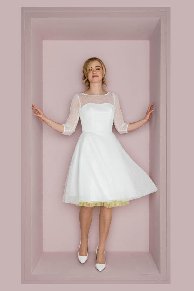 Rockabilly Hochzeitskleid mit 3/4 Arm – Schwingendes Tupfenkleid – Lissi