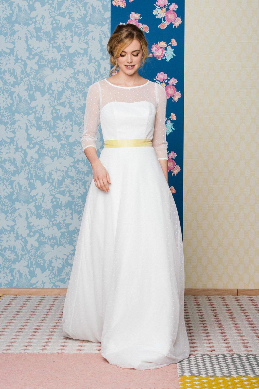 Rockabilly Hochzeitskleid mit langem Tupfenrock kombiniert