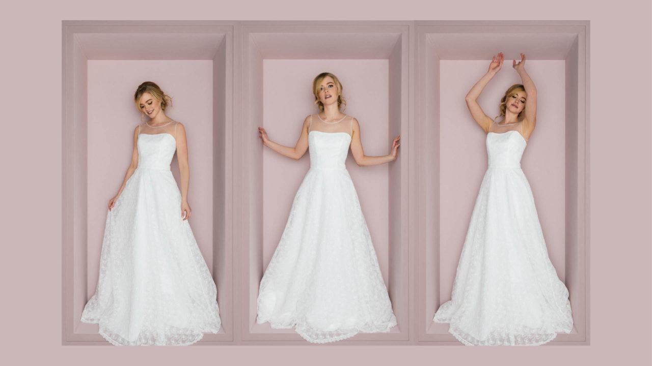 Schönes Brautkleid in A-Form mit besonderer Schmetterlingsspitze 👰🦋