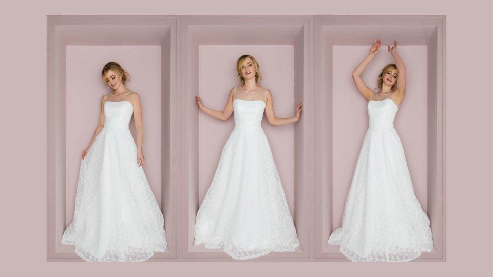 Schönes Brautkleid in A-Form mit Schmetterlingsspitze – Butterfly