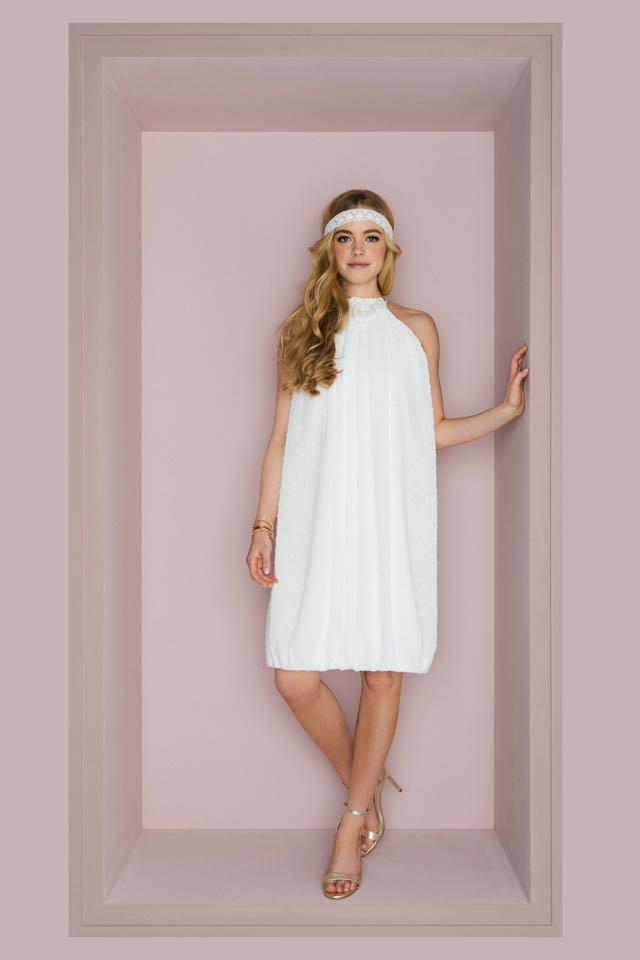 Kurzes Sommer Brautkleid mit Röschenkragen – cool & leicht – Malu