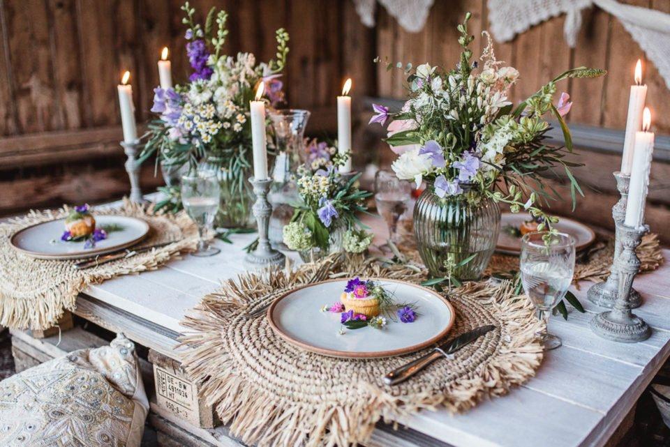 Hochzeitsdeko im Boho Chic mit Europaletten
