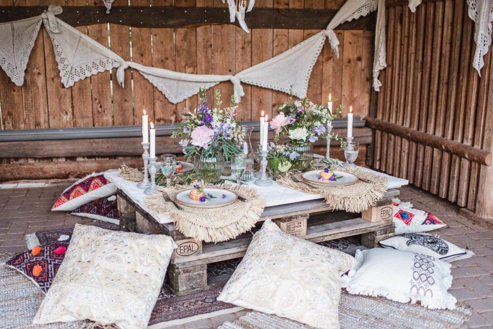 Natürliche Hochzeitsdeko im Boho Chic