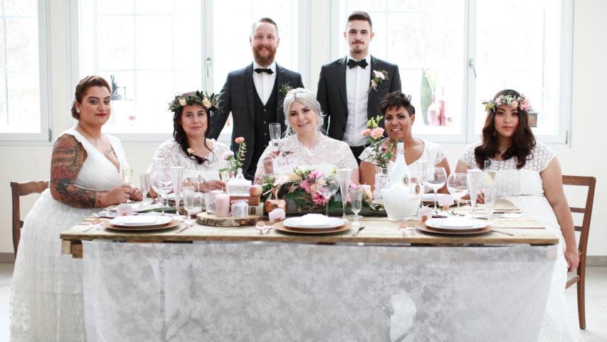 5 Curvy Brautkleider bei moderner Vintage Hochzeitsinspiration
