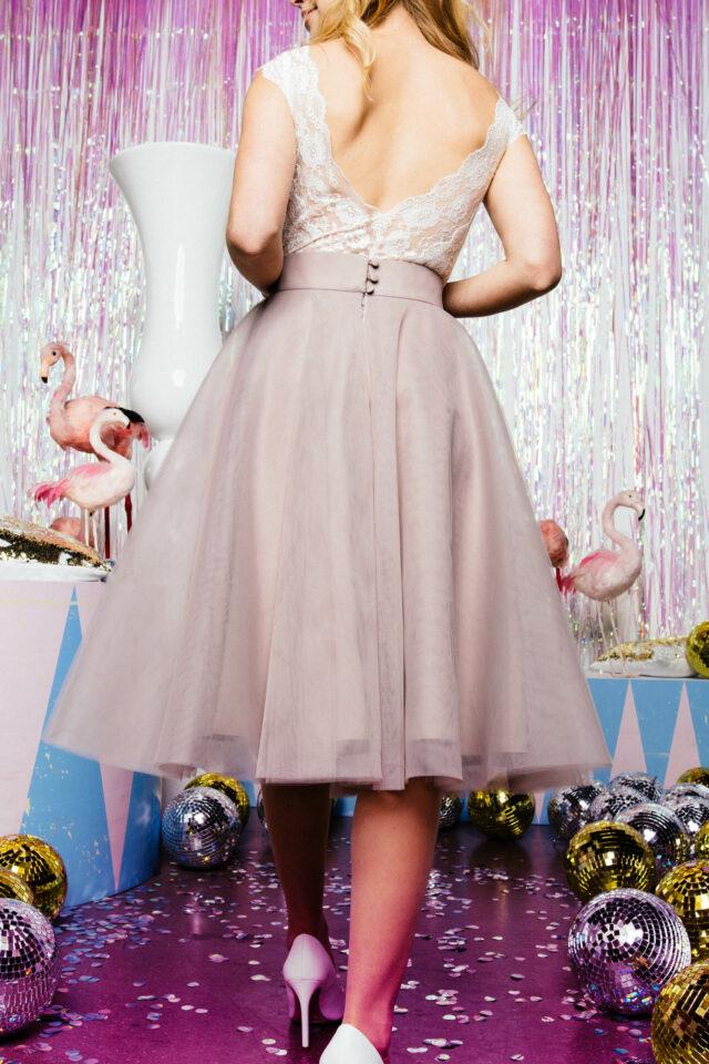kurzer Tüllrock farbig Braut
