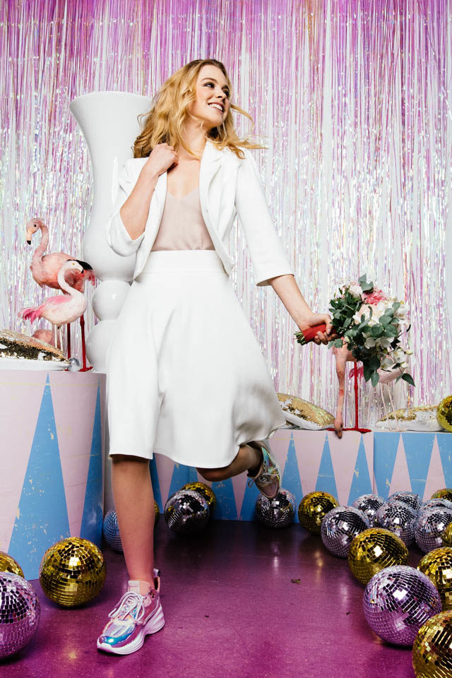 Brautrock kurz – Brautkleid Zweiteiler mit Stretchrock & Top in Farbe oder Spitze
