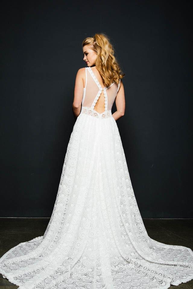 Märchenhaftes Boho Brautkleid in A-Linie  –  Schneewittchen