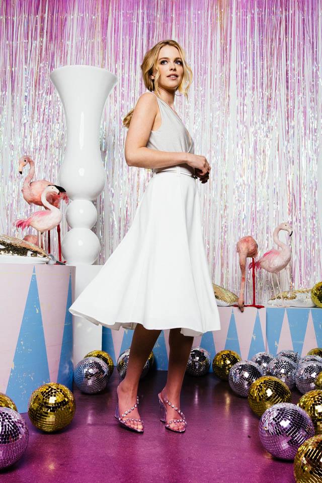 Midi Rock zur Hochzeit – Crepe Bahnenrock mit Lurexbody & Blazer