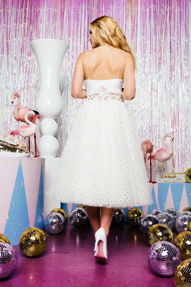Pünktchen Rock zur Hochzeit – tea length Tüllrock – Goldpünktchen