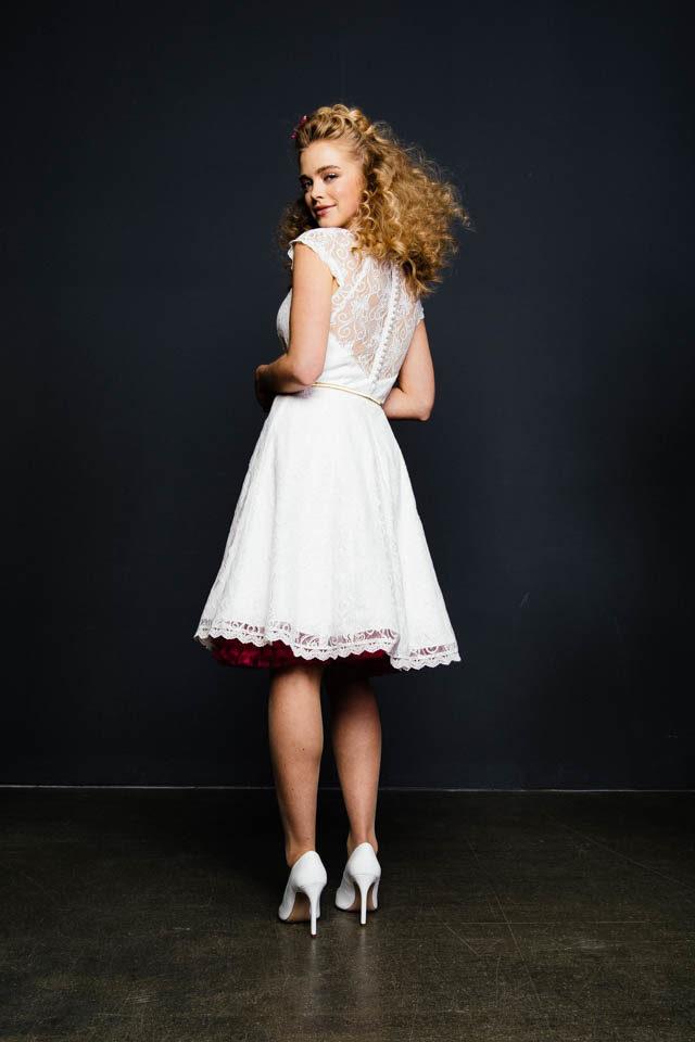 Standesamtkleid im Vintage Look mit transparentem Rücken – Luna