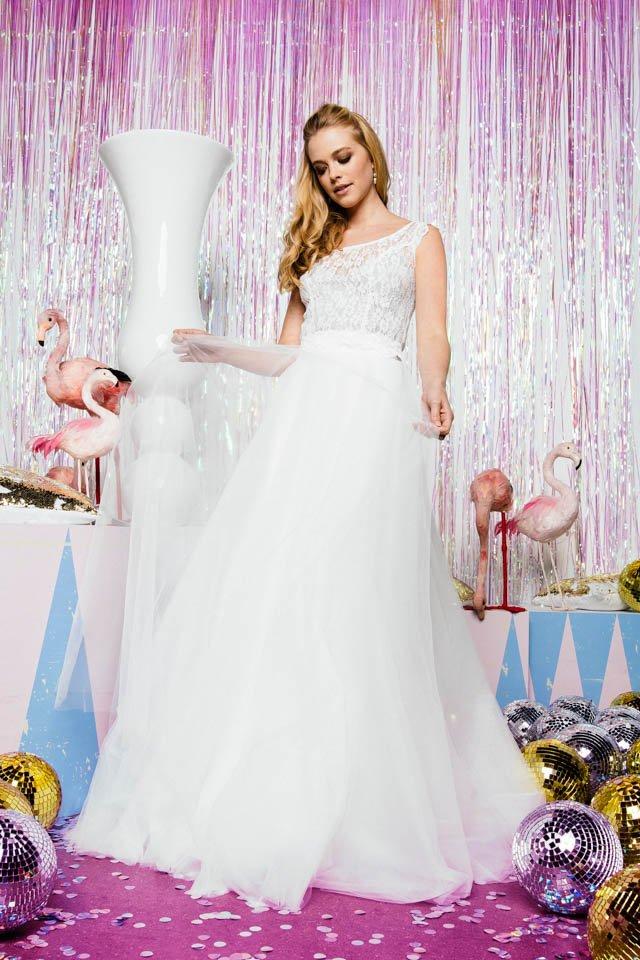 Langer Tüllrock zur Hochzeit – toll mit Flügelarmbolero – Zuzu long