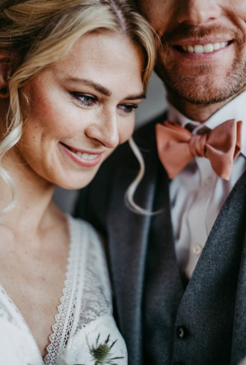 Brautpaar lächelt