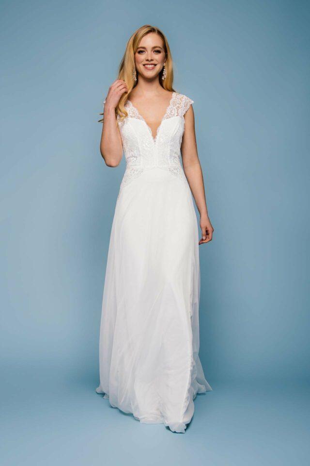 Brautkleid mit tiefem Rücken – Vintage Traum mit Trägern & Spitze – Amber