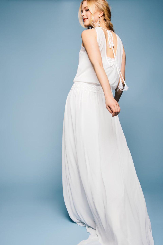 Hochzeitskleid mit Chiffon und elastischem Spitzenbund