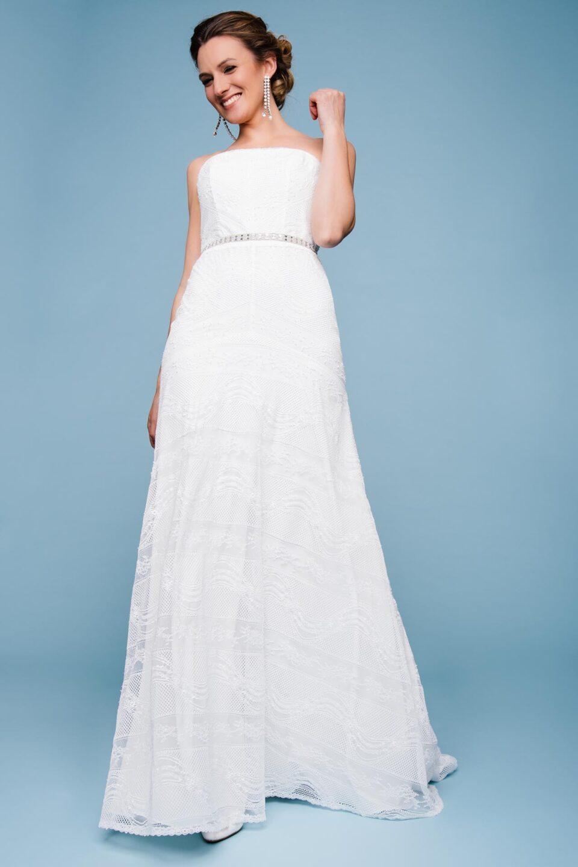 Trägerloses Brautkleid im Vintage Stil