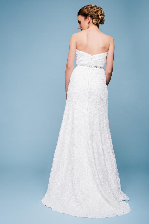 Brautkleid trägerlos von hinten