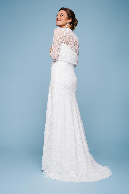 Vintage Hochzeitskleid mit Spitzenjäckchen