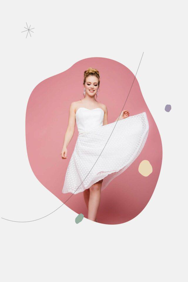 Schwingendes kurzes Brautkleid