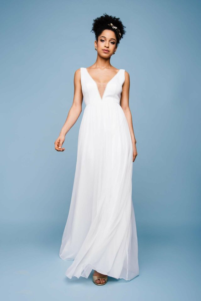 Brautkleid mit V-Ausschnitt – aufregendes Boho Hochzeitskleid – Deena