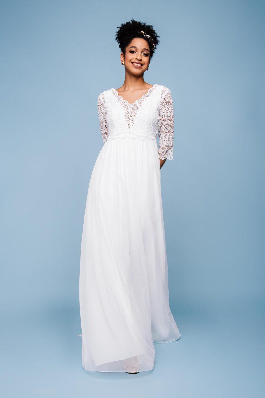 Brautkleid V-Ausschnitt mit Spitzenbolero