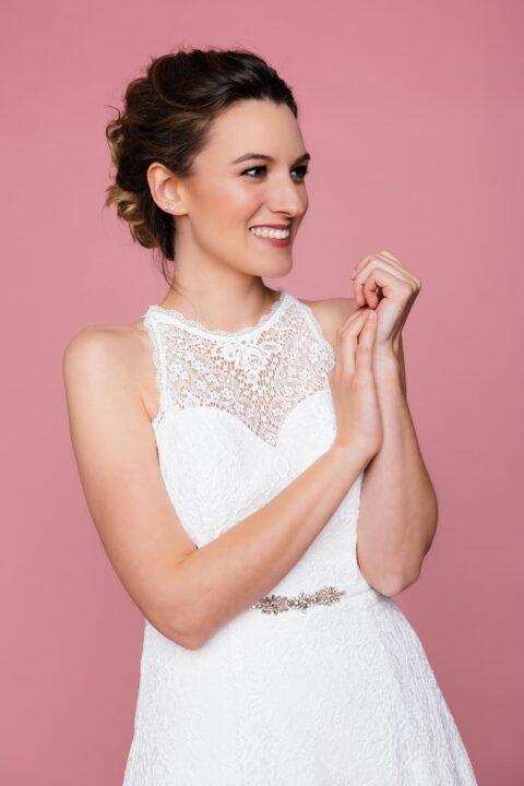 Hochzeitskleid mit Spitze und Herzausschnitt