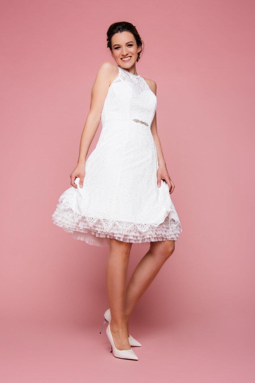 Sportliches Brautkleid kurz mit Petticoat in Ivory