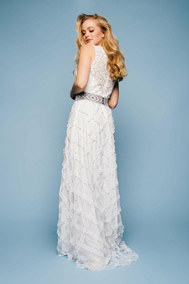 Designer Brautkleid mit Spitze von hinten