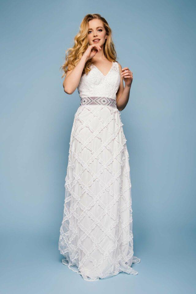 Designer Brautkleid mit leichtem Rhombenrock im Boho Look – Francesca