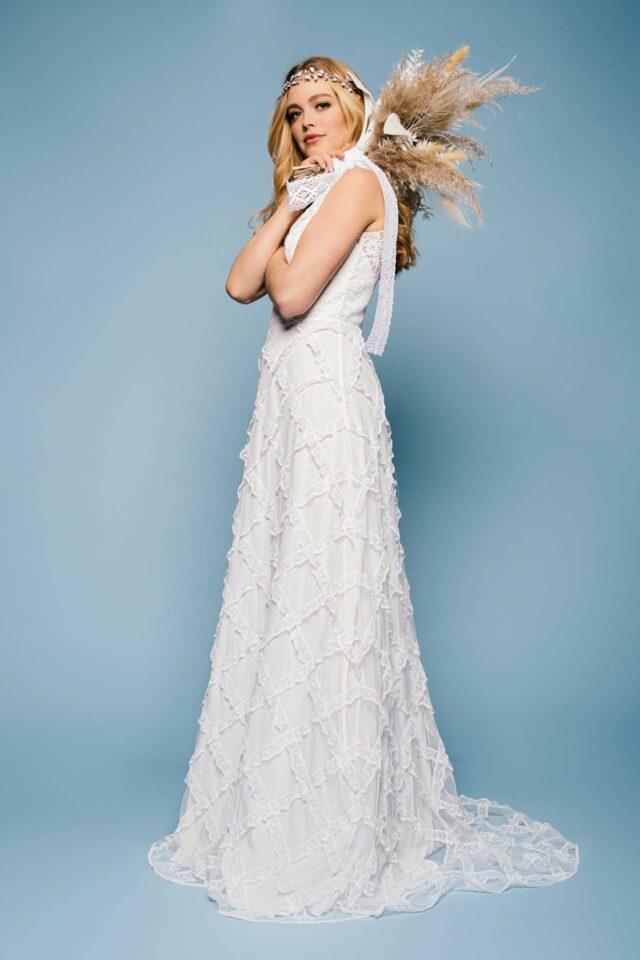 Boho Brautkleid mit außergewöhnlichem Rock