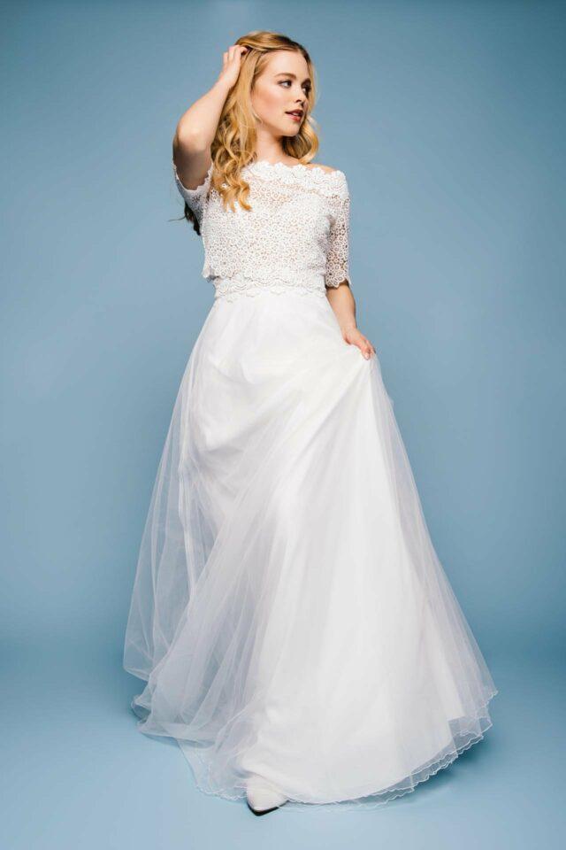 Brautkleid mit Tüllrock in A-Linie und Spitzencorsage – Gabriella